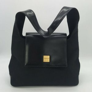 Andrew Marc Black Nylon & Leather Shoulder Bag